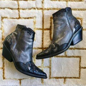 Donald Pliner Western couture metallic booties